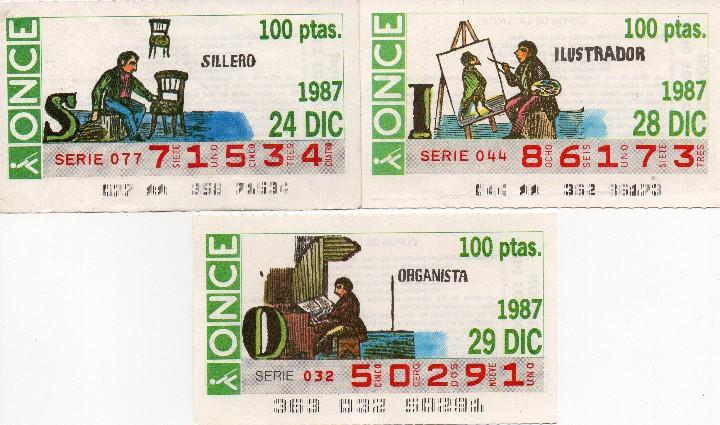 Cupones ONCE: CUPON ONCE 1988,SERIE OFICIOS,23 CUPONES COMPLETA - Foto 2 - 103113163