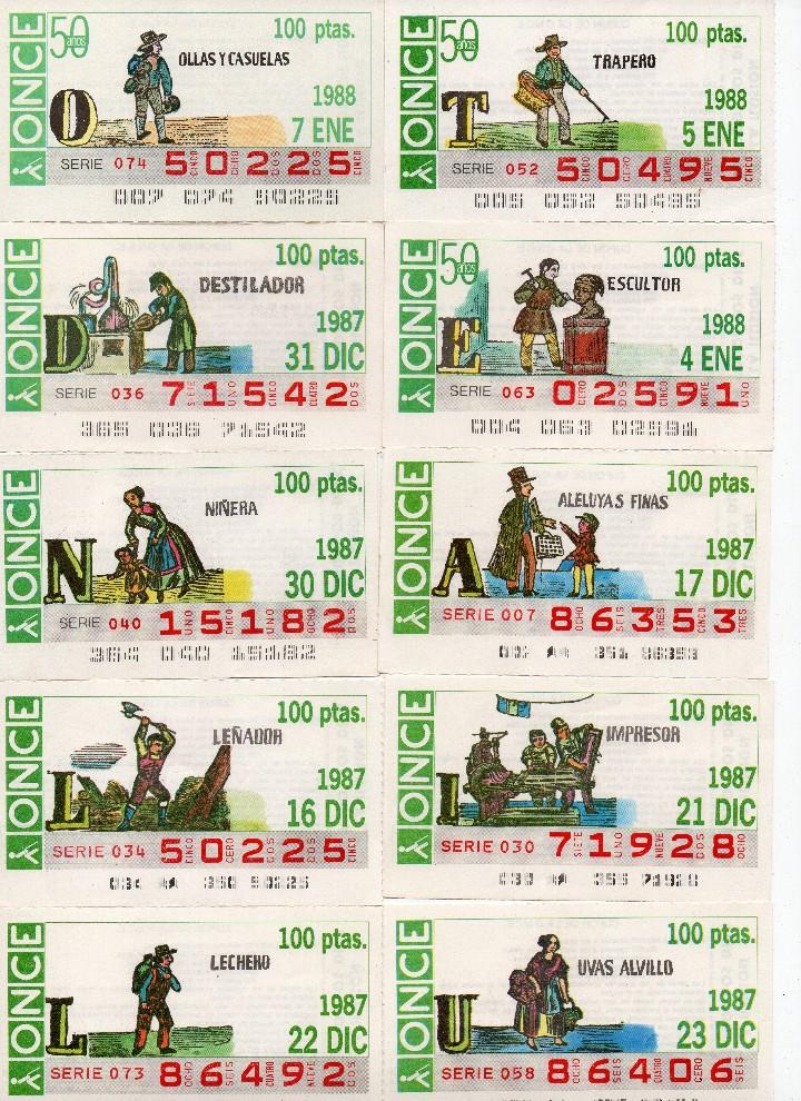 Cupones ONCE: CUPON ONCE 1988,SERIE OFICIOS,23 CUPONES COMPLETA - Foto 3 - 103113163