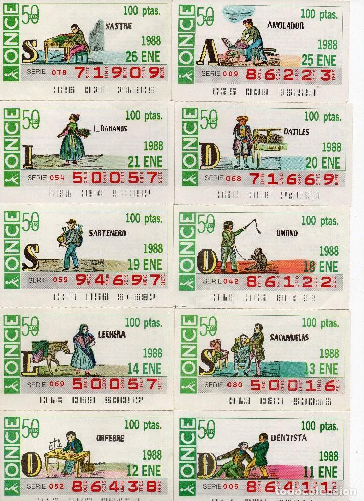 CUPON ONCE 1988, SERIE OFICIOS, 23 CUPONES COMPLETA (Coleccionismo - Lotería - Cupones ONCE)
