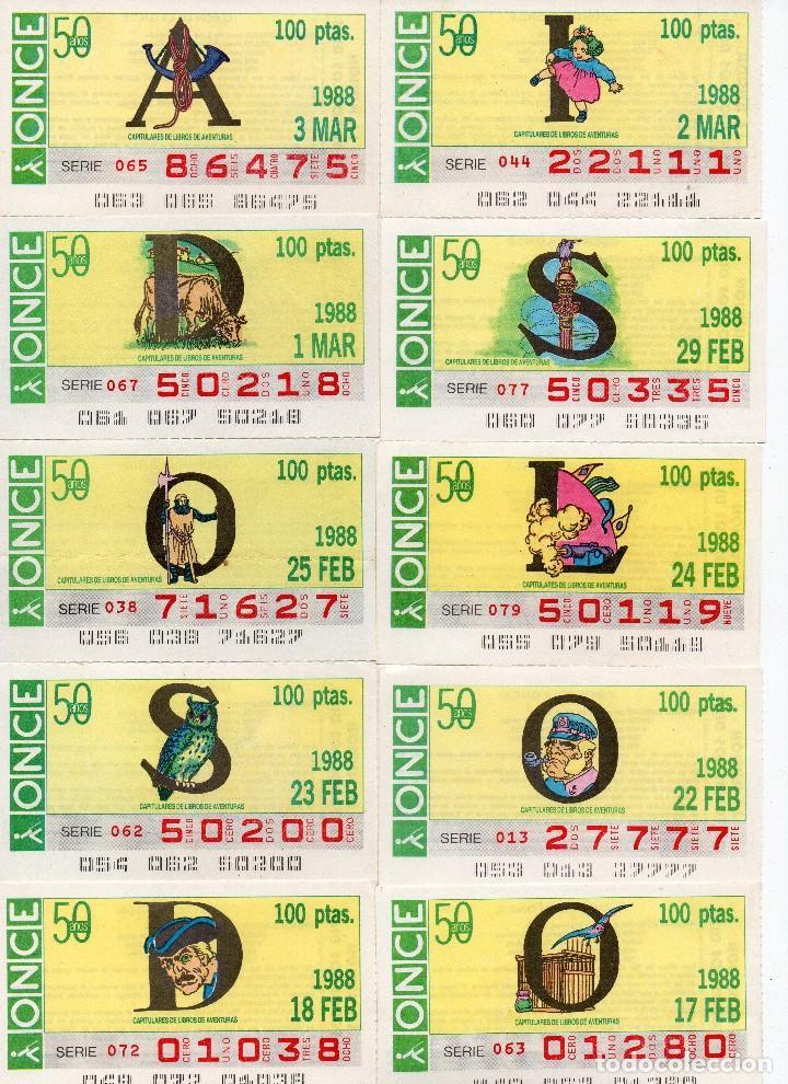 CUPON ONCE 1988, SERIE CAPITULARES, 23 CUPONES COMPLETA (Coleccionismo - Lotería - Cupones ONCE)