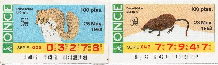 Cupones ONCE: CUPON ONCE 1988, SERIE FAUNA IBÉRICA, 22 CUPONES COMPLETA - Foto 2 - 103116815