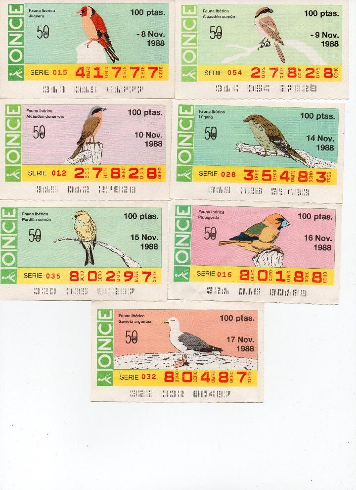 Cupones ONCE: cupon once 1988, serie aves fauna ibérica, 97 cupones completa con el 2 de junio - Foto 2 - 103139647