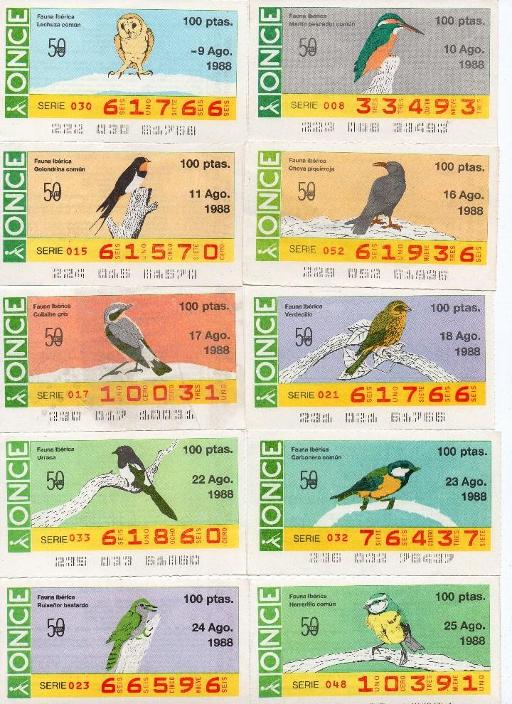 Cupones ONCE: cupon once 1988, serie aves fauna ibérica, 97 cupones completa con el 2 de junio - Foto 6 - 103139647