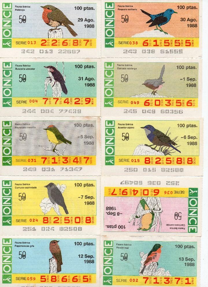 Cupones ONCE: cupon once 1988, serie aves fauna ibérica, 97 cupones completa con el 2 de junio - Foto 7 - 103139647