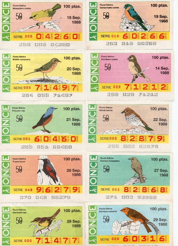 Cupones ONCE: cupon once 1988, serie aves fauna ibérica, 97 cupones completa con el 2 de junio - Foto 8 - 103139647