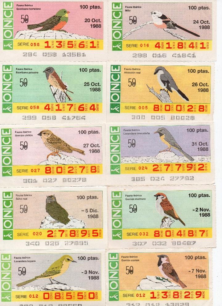 Cupones ONCE: cupon once 1988, serie aves fauna ibérica, 97 cupones completa con el 2 de junio - Foto 10 - 103139647