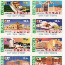 Cupones ONCE: CUPON ONCE 1992,SERIE ESPOR DE SEVILLA 92, 69 CUPONES COMPLETA. Lote 103512263