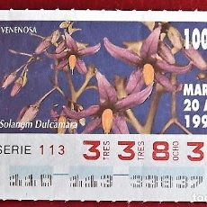 Cupones ONCE: ESPAÑA. ONCE. 1993. FLORA SILVESTRE VENENOSA (MUY VENENOSA): TAXUS BACCATA. FECHA: 15 ABRIL. EL NÚM. Lote 104367878