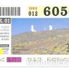 Cupones ONCE: CUPÓN ONCE DE 12-4-2001. PARQUES NACIONALES. OBSERVATORIO ASTRONOMICO DE IZAÑA. REF. 8-010412. Lote 105309299