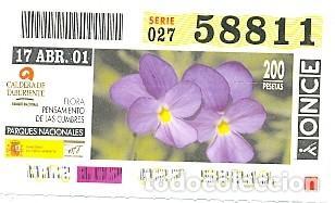 CUPÓN ONCE DE 17-4-2001. PARQUES NACIONALES. CALDERA DE TABURIENTE. REF. 8-010417 (Coleccionismo - Lotería - Cupones ONCE)
