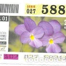 Cupones ONCE: CUPÓN ONCE DE 17-4-2001. PARQUES NACIONALES. CALDERA DE TABURIENTE. REF. 8-010417. Lote 105309551