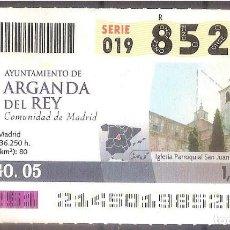 Coupon ONCE: ONCE,AYUNTAMIENTO DE ARGANDA DEL REY.02/08/2005.. Lote 107282223
