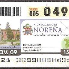 Billets ONCE: ONCE,AYUNTAMIENTO DE NOREÑA.25/11/2009.. Lote 107592287