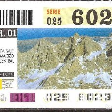Billets ONCE: ONCE,PARQUES NACIONALES,12/03/2001.. Lote 107941475
