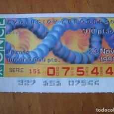Cupones ONCE: CUPON EVOLUCION Y PROGRESO 23 NOVIEMBRE 1990. Lote 108021611