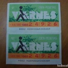 Cupones ONCE: 2 CUPONES VIERNES 4 OCTUBRE 1985. Lote 108261923
