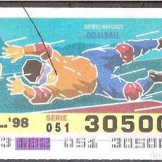 Billets ONCE: ONCE,DEPORTES PARA CIEGOS,01/17/2098.. Lote 108281267