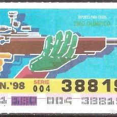Billets ONCE: ONCE,DEPORTES PARA CIEGOS,29/06/1998.. Lote 108281511