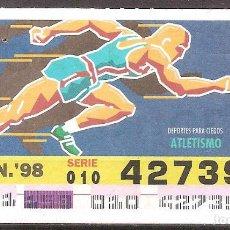 Billets ONCE: ONCE,DEPORTES PARA CIEGOS,08/06/1998.. Lote 108281575