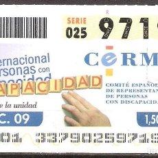 Billets ONCE: ONCE,CERMI.03/12/2009.. Lote 108677959
