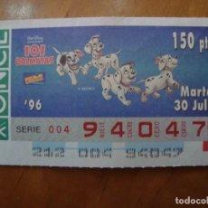 Cupones ONCE: CUPON WALT DISNEY 101 DALMATAS 30 JULIO 1996. Lote 177142264