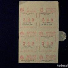 Cupones ONCE: 10 CUPONES DE LA ONCE, 1948, ALCOY, 10 CENTIMOS POR CUPON, Nº240. Lote 109692427