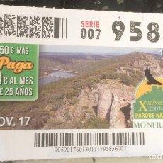 Cupones ONCE: CUPÓN DE LA ONCE. 30 DE NOVIEMBRE DE 2017. DEDICADO AL PARQUE NACIONAL MONFRAGÜE.. Lote 109884003