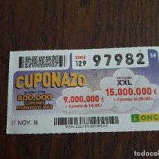 Cupones ONCE: CUPÓN ONCE 11-11-16 EL CUPONAZO.. Lote 111649415
