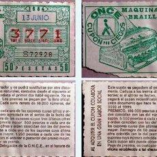 Cupones ONCE: LOTE DE 8 BOLETOS DE LA ONCE DE 1984. Lote 112724575