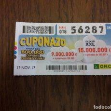 Cupones ONCE: CUPÓN ONCE 17-11-17 EL CUPONAZO.. Lote 113205427
