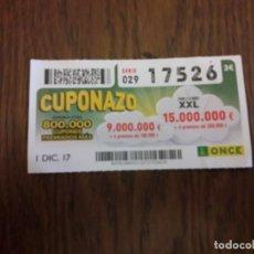 Cupones ONCE: CUPÓN ONCE 01-12-17 EL CUPONAZO.. Lote 113205579