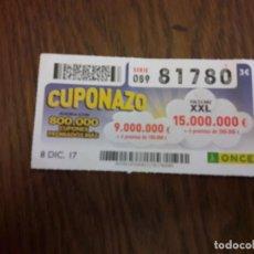 Cupones ONCE: CUPÓN ONCE 08-12-17 EL CUPONAZO.. Lote 113205631