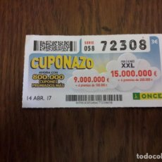 Cupones ONCE: CUPÓN ONCE 14-04-17 CUPONAZO.. Lote 113205675