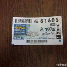 Cupones ONCE: CUPÓN ONCE 22-03-17 100 AÑOS COLEGIO PROFESIONAL ENFERMERÍA DE SALAMANCA. Lote 113205739