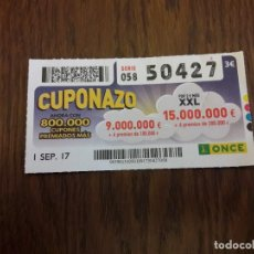 Cupones ONCE: CUPÓN ONCE 01-09-17 CUPONAZO.. Lote 113218911