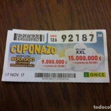 Cupones ONCE: CUPÓN ONCE 17-11-17 EL CUPONAZO.. Lote 113219063