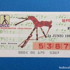 Cupones ONCE: CED1 CUPON DE LA ONCE DIA 24 DE JUNIO DE 1987. Lote 113811575