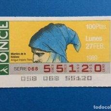 Cupones ONCE: CDE1 CUPÓN DE LA ONCE DÍA 27 DE FEBRERO 1989. Lote 113814479