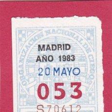 Cupones ONCE: CUPON ANTIGUO DE LA ONCE 20 DE MAYO DE 1983 NUMERO 053. Lote 118030147