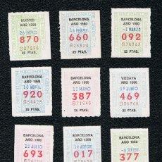 Cupones ONCE: LOTERIA 12 CUPONES ONCE DEL AÑO 1980 UNO DE CADA MES. Lote 118193515