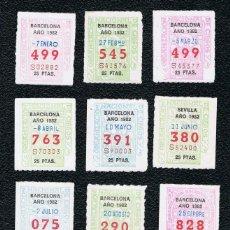 Cupones ONCE: LOTERIA 12 CUPONES ONCE DEL AÑO 1982 UNO DE CADA MES. Lote 118195735