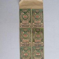 Cupones ONCE: 10 CUPONES DIFERENTES, UNION DE TRABAJADORES CIEGOS, AÑO 1933, PEGADOS SOBRE HOJA DE PERIODICO. Lote 118358395