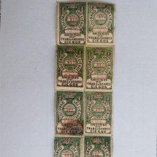 Cupones ONCE: 12 CUPONES DIFERENTES, UNION DE TRABAJADORES CIEGOS, AÑO 1933, PEGADOS SOBRE HOJA DE PAPEL. Lote 118359171
