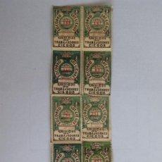 Cupones ONCE: 12 CUPONES DIFERENTES, UNION DE TRABAJADORES CIEGOS, AÑO 1933, PEGADOS SOBRE HOJA DE PAPEL. Lote 118359495