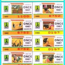 Cupones ONCE: ONCE - TEMA COMPLETO DE TAUROMAQUIA - MARZO 1987 - MIRAR FOTO ADICIONAL. Lote 118533199