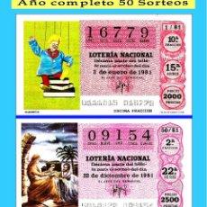 Cupones ONCE: 1981 LOTERÍA NACIONAL.- AÑO COMPLETO / 50 SORTEOS / CALIDAD MUY BUENA, DISPONGO DE OTROS AÑOS. Lote 118623951