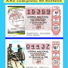 Cupones ONCE: 1983 LOTERÍA NACIONAL.- AÑO COMPLETO / 50 SORTEOS / CALIDAD MUY BUENA, DISPONGO DE OTROS AÑOS. Lote 118624007