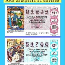 Cupones ONCE: 1989 LOTERÍA NACIONAL.- AÑO COMPLETO / 51 SORTEOS / CALIDAD MUY BUENA, DISPONGO DE OTROS AÑOS. Lote 118624115