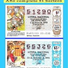 Cupones ONCE: 1990 LOTERÍA NACIONAL.- AÑO COMPLETO / 51 SORTEOS / CALIDAD MUY BUENA, DISPONGO DE OTROS AÑOS. Lote 118624207
