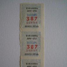 Cupones ONCE: CUPONES DE LA ONCE DE ZARAGOZA, ANTIGUOS AÑO 1975. 30 DE DICIEMBRE.. Lote 118703847